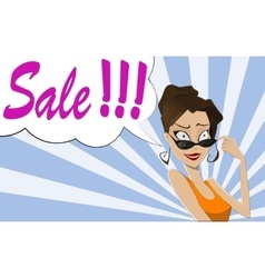 Pop Art Woman SALE sign vector image