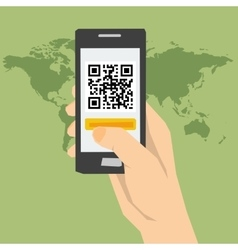QR code - hand with phone vector image