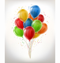 realistic bunch of flying glossy balloons vector image