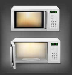Realistic microwave oven with light inside vector