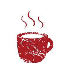 Red grunge cup of coffee logo vector