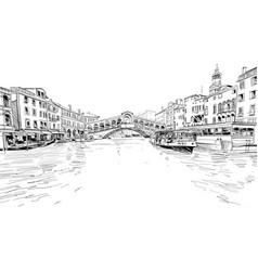 rialto bridge venice italy city sketch vector image