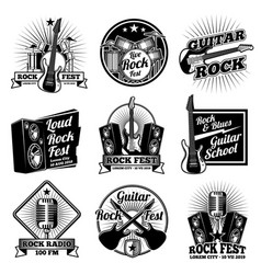 Rock and roll music labels vintage heavy vector