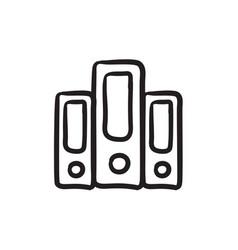 Row folders sketch icon vector