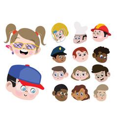 Set cute adorable kids faces boys girls vector