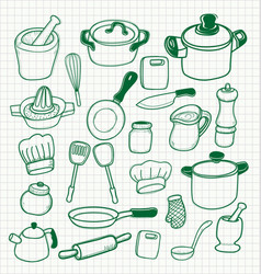 Set kitchen utensils vector