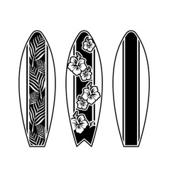 set surfboard print design for surfing vector image