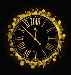 shiny new year 2018 countdown clock on the black vector image