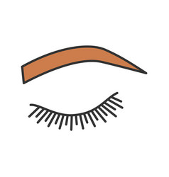 Soft arched eyebrow shape color icon vector