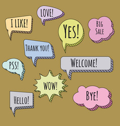 speech bubbles set talk clouds coloured sketching vector image
