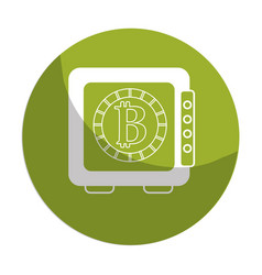 Sticker strongbox open with bitcoin currency vector