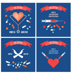 Stop narcotic posters dedicated international day vector
