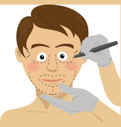 Surgeon drawing marks on male face vector