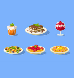 tasty dishes set delicious food main dishes and vector image