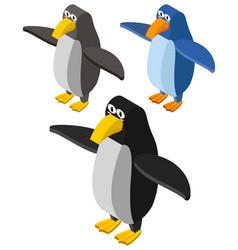 Three penguins in 3d design vector