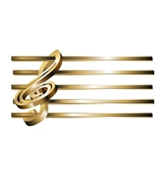 Treble clef stave 3D gold vector