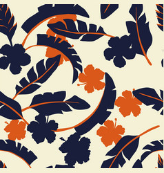tropical leaves and flowers in two colors beige vector image