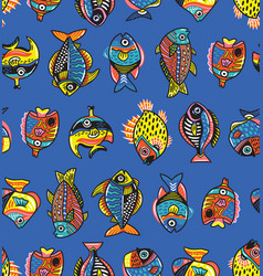 underwater life seamless pattern with fishes vector image
