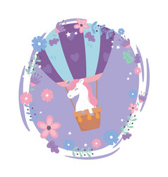 Unicorn in air balloon flowers sky fantasy cartoon vector