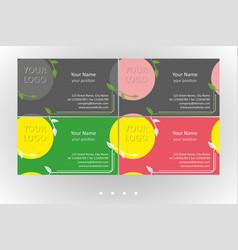 Vivid business card floral templates set vector