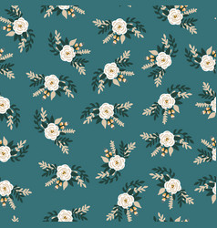white flowers bridal roses seamless pattern vector image