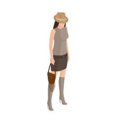 Woman on high heels in short skirt t-shirt vector