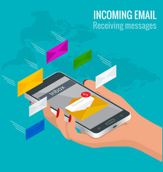 woman received an e-mail online on a mobile phone vector image