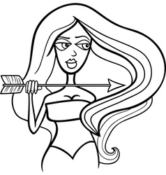 woman sagittarius sign for coloring vector image