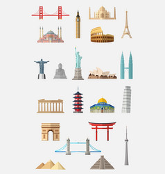 world famous landmarks icon set vector image
