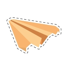 Yellow paper plane symbolic miniature cut line vector