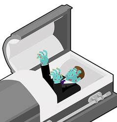 Zombie in coffin Green dead man lying in wooden vector