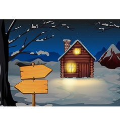 A wooden arrow board near the wooden house vector image