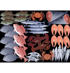 Assorted seafood vector image vector image