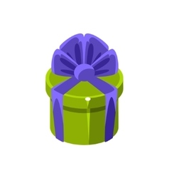 Green Round Gift Box With Present Decorative vector image