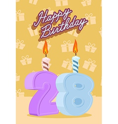 Happy Birthday Age 28 Announcement and Celebration vector image