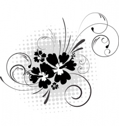 hibiscus with swirls vector image vector image