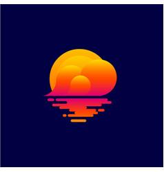 logo sunset tourism icon spa relax emblem vector image