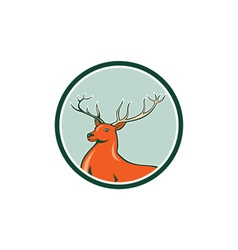 Red Stag Deer Side Circle Cartoon vector image vector image