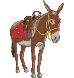 a donkey with a saddle vector image vector image
