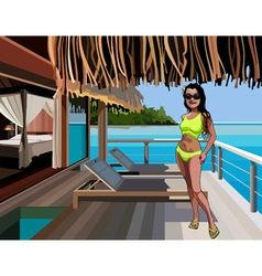 cartoon woman in a bikini standing on the terrace vector image vector image