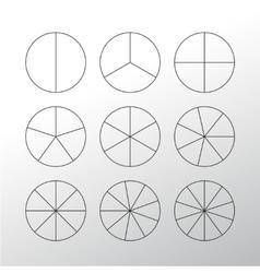 Circle segments set Black thin outline vector image