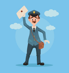 happy smiling post man character hold envelope vector image