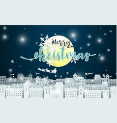 Merry christmas moon and santa claus driving vector