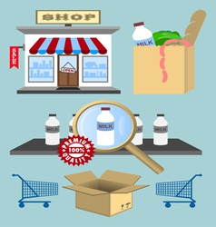 Set of design shopping elements vector image vector image