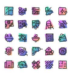 construction icons builder tools for vector image