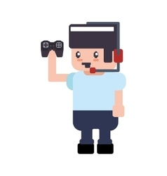 control boy pixel video game play icon vector image