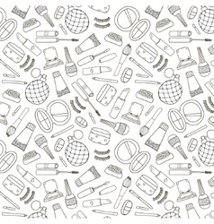cosmetics hand drawn outline pattern vector image vector image