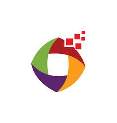 digital colored circle logo vector image