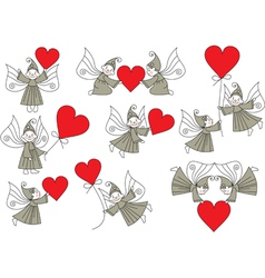 elves with hearts set vector image