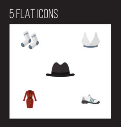 flat icon dress set of foot textile brasserie vector image